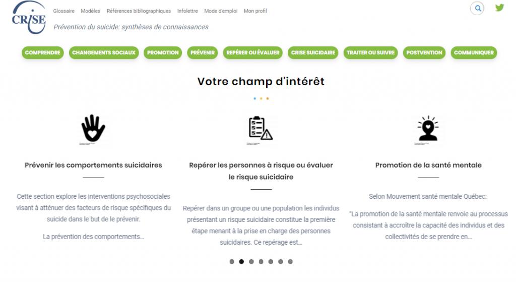 Capture d'écran site web Prévention du suicide: synthèses de connaissances du CRISE